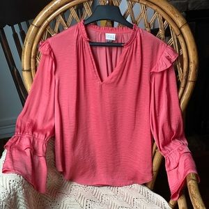 Salmon colored top w/ bell sleeves Ruffles S